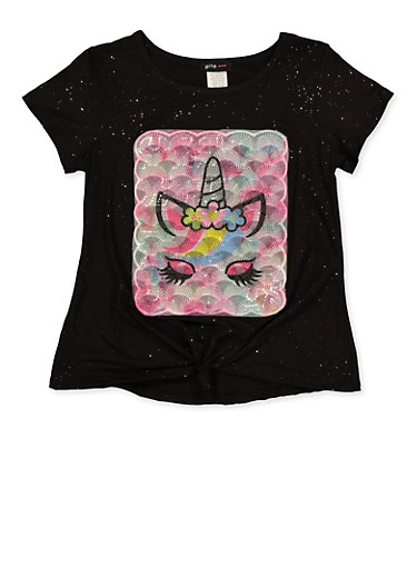 Girls 7-16 Embroidered Unicorn Patch Tee,BLACK,large