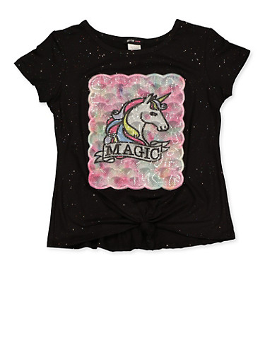 Girls 7-16 Unicorn Magic Tee,BLACK,large