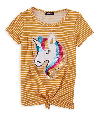 Girls 7-16 Striped Reversible Sequin Unicorn Tee,MUSTARD,large