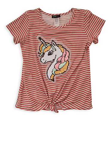 Girls 7-16 Unicorn Reversible Sequin Striped Tee,MAUVE,large
