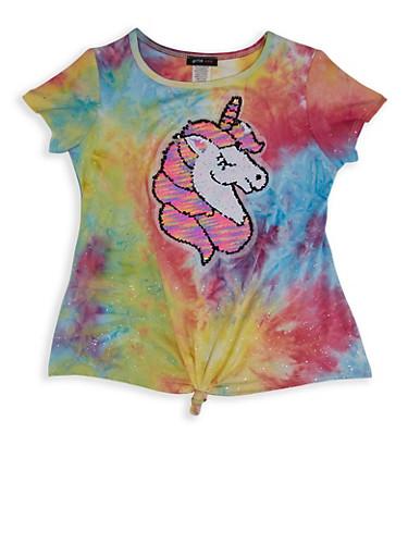 Girls 7-16 Reversible Sequin Unicorn Tee,MULTI COLOR,large
