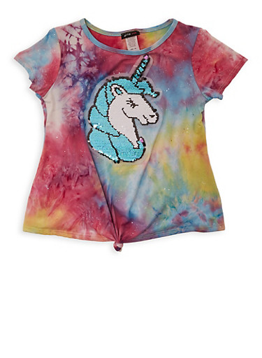 Girls 7-16 Tie Dye Reversible Sequin Unicorn Tee,MULTI COLOR,large