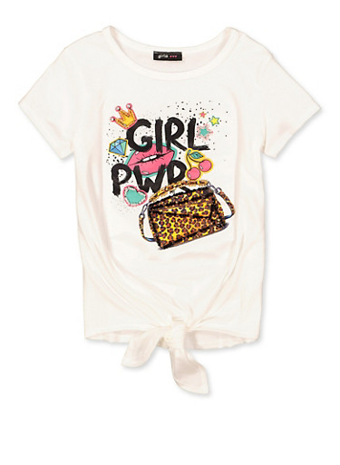 Girls 7-16 Girl PWR Tie Front Tee,IVORY,large