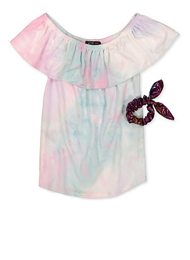Girls 7-16 Tie Dye Soft Knit Off the Shoulder Top with Scrunchie,TURQUOISE,large