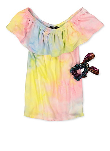 Girls 7-16 Tie Dye Off the Shoulder Top with Scrunchie,YELLOW,large