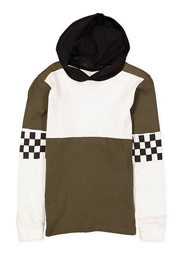 Girls 7-16 Checkered Sleeve Hooded Top,OLIVE,large
