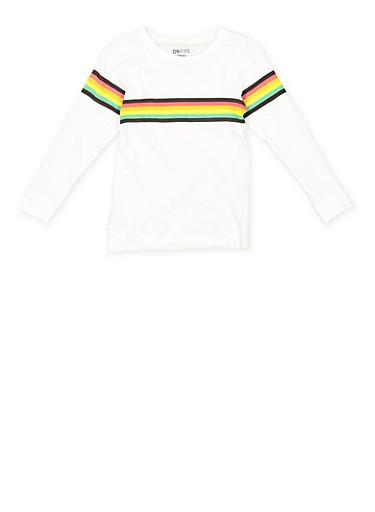 Girls 7-16 Rainbow Striped Tee,WHITE,large