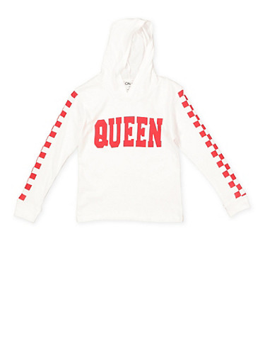 Girls 7-16 Queen Graphic Hooded Tee,WHITE,large