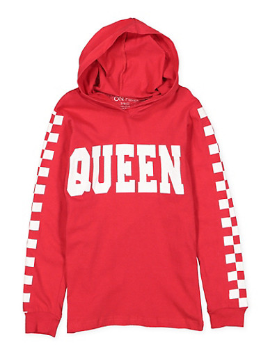 Girls 7-16 Queen Graphic Checkered Sleeve Top,RED,large