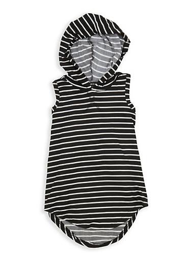 Girls 7-16 Striped Sleeveless Hooded Top,BLACK/WHITE,large