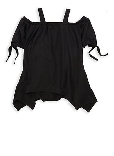 Girls 7-16 Soft Knit Off the Shoulder Top,BLACK,large