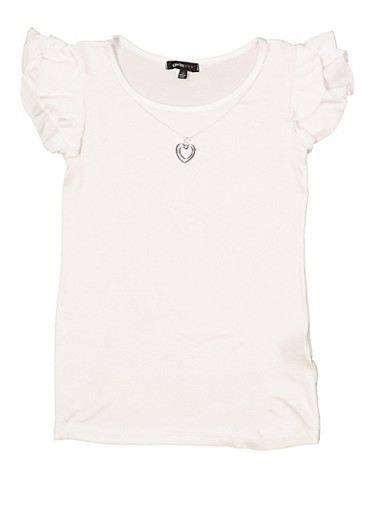 Girls 7-16 Tiered Sleeve Tee with Necklace,WHITE,large