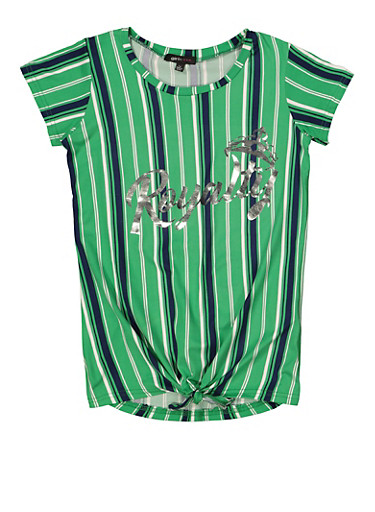 Girls 7-16 Royalty Foiled Graphic Striped Tee,GREEN,large