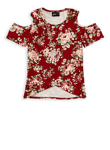 Girls 7-16 Floral Cold Shoulder Top with Necklace,MAUVE,large