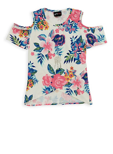 Girls 7-16 Tulip Hem Top with Necklace,IVORY,large