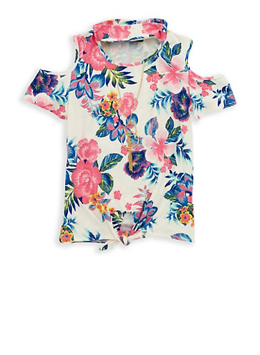 Girls 7-16 Floral Tie Front Top with Necklace,IVORY,large