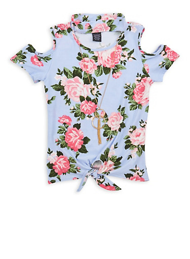 Girls 7-16 Soft Knit Floral Tie Front Top with Necklace,BLUE,large