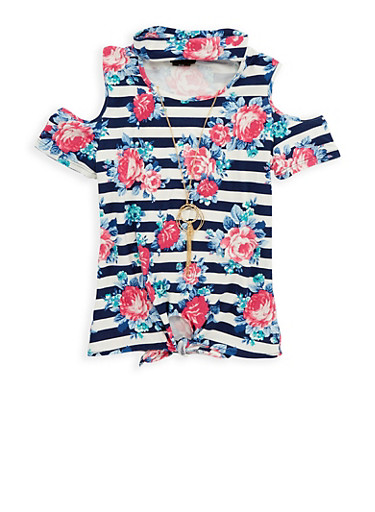 Girls 7-16 Floral Tie Front Top with Necklace,NAVY,large