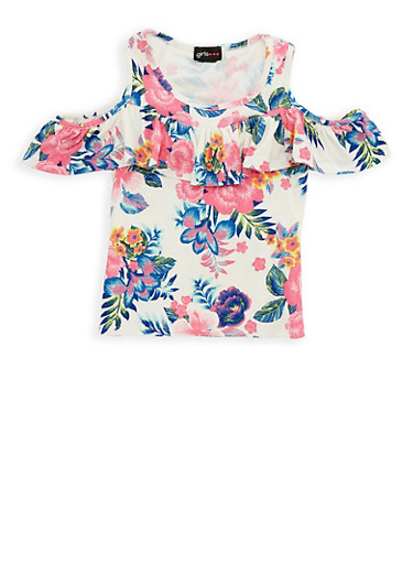 Girls 7-16 Floral Ruffle Cold Shoulder Top | Tuggl