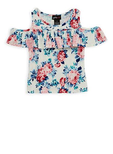 Girls 7-16 Floral Soft Knit Cold Shoulder Top,IVORY,large