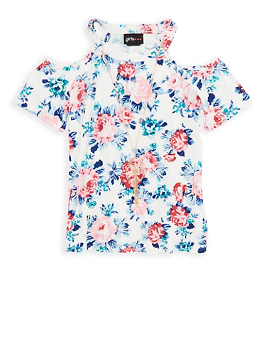 Girls 7-16 Soft Knit Floral Top with Necklace | Tuggl