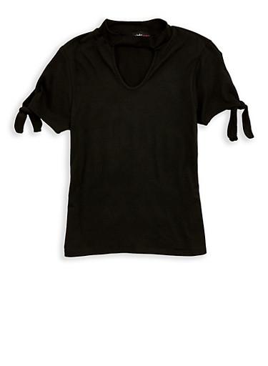 Girls 7-16 Tie Sleeve Keyhole Top,BLACK,large