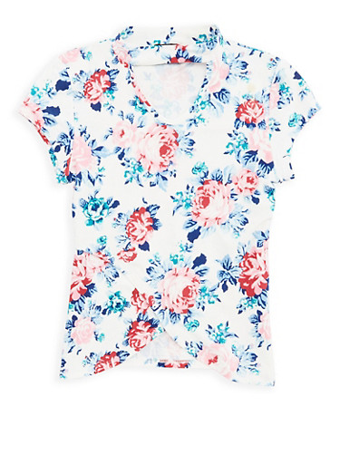 Girls 7-16 Soft Knit Floral Keyhole Top,IVORY,large