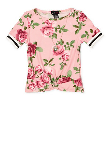 Girls 7-16 Twist Front Floral Top with Necklace,MAUVE,large