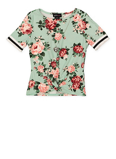 Girls 7-16 Floral Twist Front Top with Necklace,MINT,large
