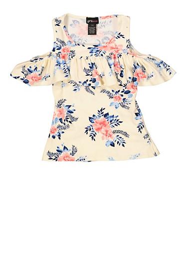 Girls 7-16 Floral Ruffled Cold Shoulder Top | 1635051060050,IVORY,large