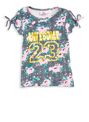 Girls 7-16 Floral Foil Graphic Slit Sleeve T Shirt,HEATHER,large
