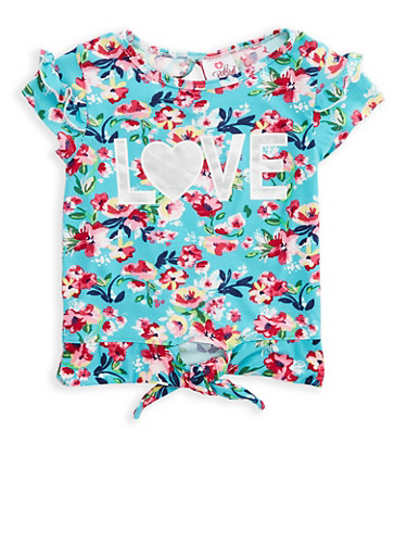 Girls 7-16 Soft Knit Floral Love Graphic Top,TURQUOISE,large