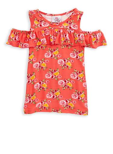 Girls 7-16 Floral Ruffle Cold Shoulder Top,MULTI COLOR,large