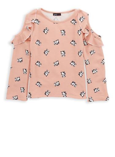 Girls 7-16 Panda Print Cold Shoulder Top,BLUSH,large