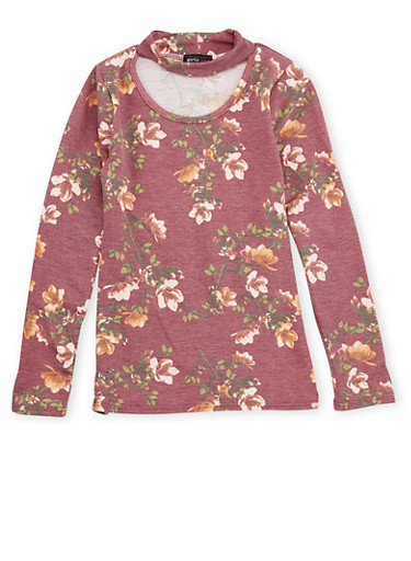 Girls 7-16 Floral Print Keyhole Top,WINE,large