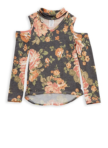 Girls 7-16 Floral Keyhole Neck Cold Shoulder Top,BLACK/GOLD,large