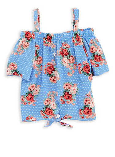 Girls 7-16 Floral Polka Dot Top with Necklace,BLUE,large