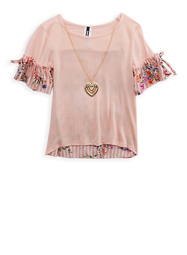 Girls 7-16 Floral Stripe Top with Necklace,PEACH,large