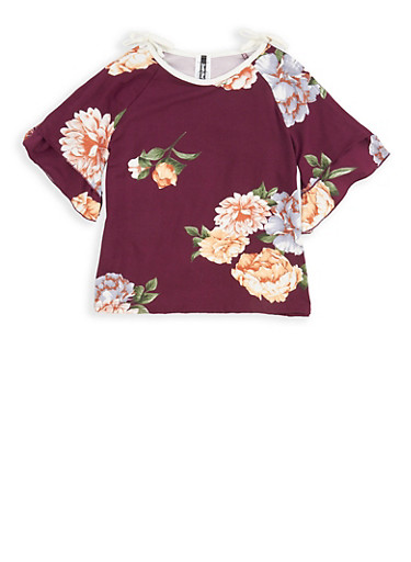 Girls 7-16 Floral Slit Sleeve Top,PLUM,large