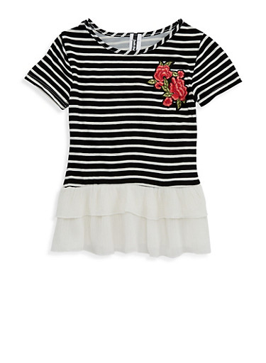 Girls 7-16 Striped Floral Patch Top,BLACK/WHITE,large