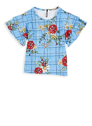 Girls 7-16 Floral Plaid Top with Necklace,BLUE,large