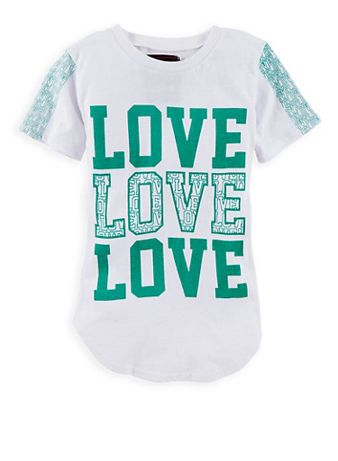 Girls 7-16 Love Graphic T Shirt,GREEN,large