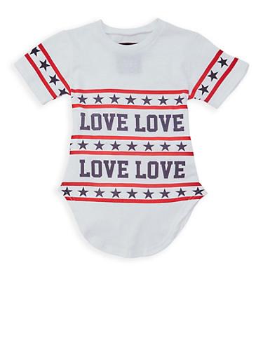 Girls 7-16 Americana Love Graphic T Shirt,WHITE,large