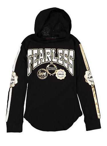 Girls 7-16 Fearless Hooded Tee,BLACK,large