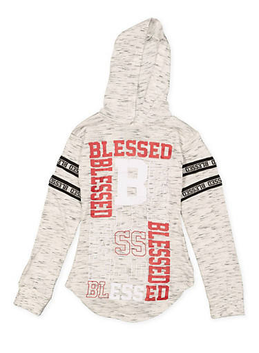 Girls 7-16 Blessed Graphic Hooded Tee,GRAY,large