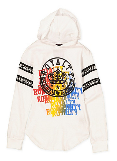 Girls 7-16 Royalty Graphic Hooded Tee,WHITE,large