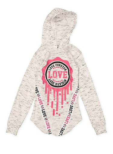 Girls 7-16 Love Hooded Tunic Tee,GRAY,large