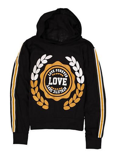 Girls 7-16 Love Striped Tape Sleeve Hooded Tee,BLACK,large