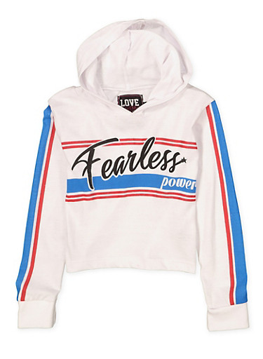 Girls 7-16 Fearless Power Hooded Crop Top,WHITE,large