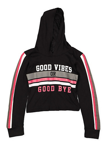 Girls 7-16 Good Vibes Graphic Hooded Crop Top,BLACK,large